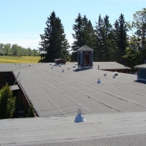 View Solatube domes on pitched rolled ashphalt  roof,  Claremont Field Centre